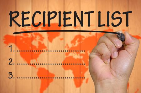 recipient: The hand writing recipient list