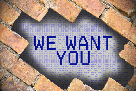 want: Hole In Brick Wall With we want you Word.