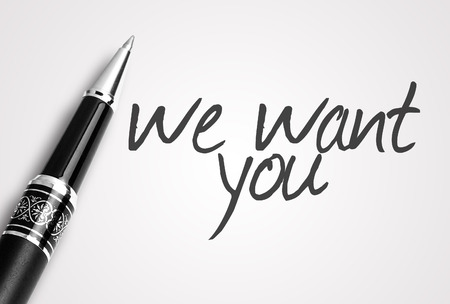 want: pen writes we want you. Stock Photo