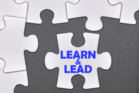 leading education: The jigsaw puzzle written word learn and lead. Stock Photo