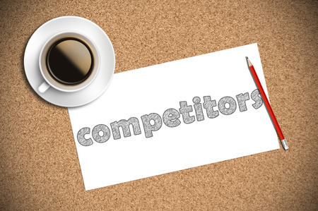 responsibility: coffee and pencil sketch competitors on paper. Stock Photo