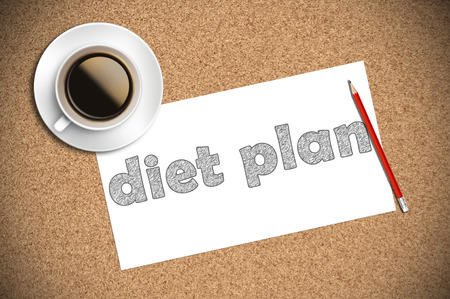 diet plan: coffee and pencil sketch diet plan on paper.