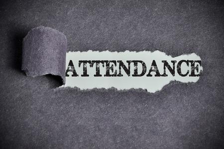 attendance word under torn black sugar paper. Stock Photo