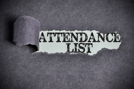 attendance: attendance list word under torn black sugar paper. Stock Photo