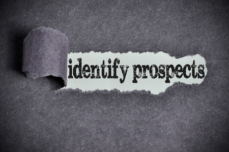the prospects: identify prospects  word under torn black sugar paper.
