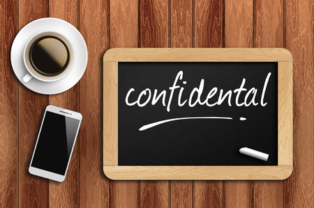covert: The coffee, phone  and chalkboard with word confidental