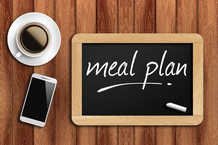 Kawa, telefon i tablica z planem posiłków słownych