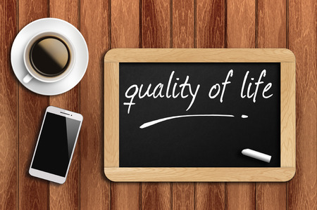zest for life: The coffee, phone  and chalkboard with word quality of life