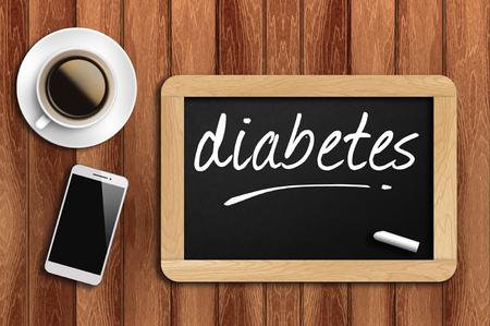diabetes: El café, el teléfono y la pizarra con la diabetes palabra