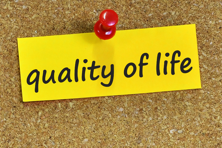 zest for life: quality of life word on yellow notepaper with cork background.