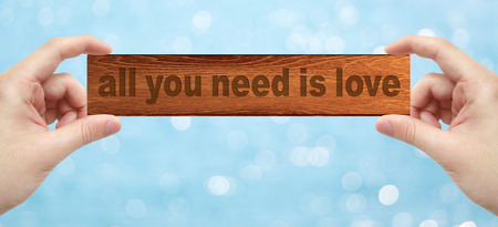 all love: The Hands holding a wood engrave with word all you need is love with bokeh background