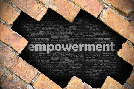 empowerment: The hole in the brick wall with word empowerment Stock Photo