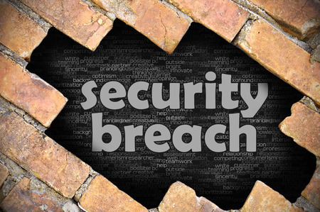 security breach: The hole in the brick wall with word security breach