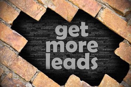 prospecting: The hole in the brick wall with word get more leads