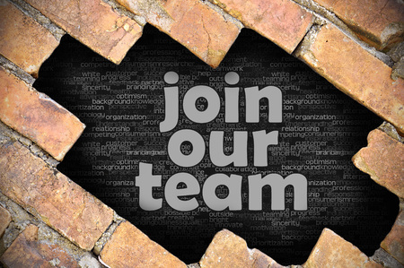 appoint: The hole in the brick wall with word join our team Stock Photo