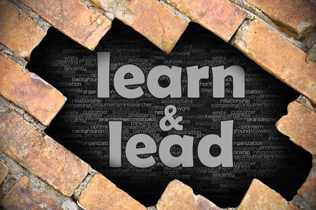 The hole in the brick wall with word learn and lead Stock Photo