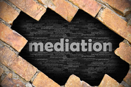 mediate: The hole in the brick wall with word mediation