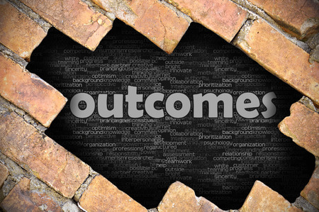 outcomes: The hole in the brick wall with word outcomes