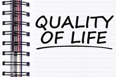 zest for life: quality of life words on spring white note book.