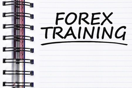 spring training: forex training words on spring white note book.