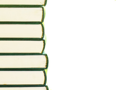 space   area: Stack of books with white  background for copy space area.