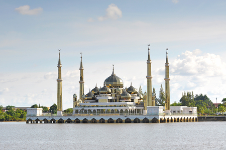 terengganu: Beautiful crystal mosque with blue sky and clouds at Terengganu, Malaysia.