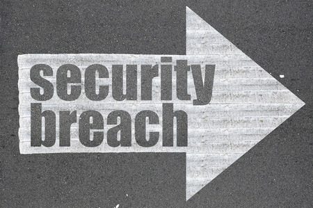 breach: Arrow on asphalt road written word security breach  .