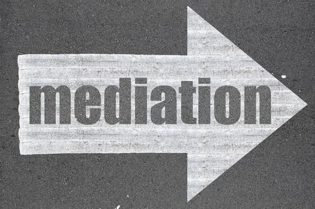 mediate: Arrow on asphalt road written word mediation .