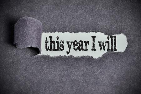 Quest'anno farò la parola sotto carta strappata di zucchero nero. Archivio Fotografico - 50398340