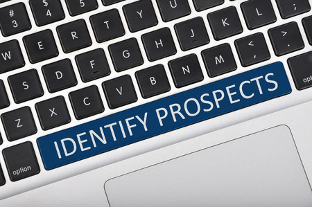 the prospects: The computer keyboard button written word identify prospects Stock Photo