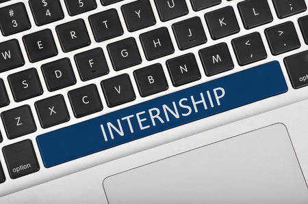 internship: The computer keyboard button written word internship