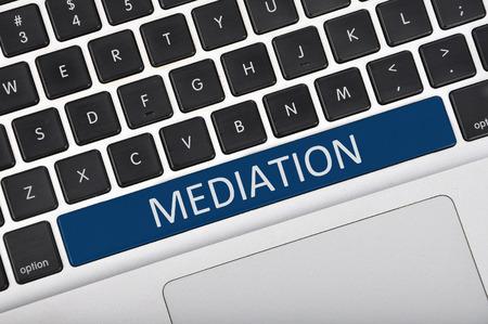 mediate: Keyboard space bar button written word mediation