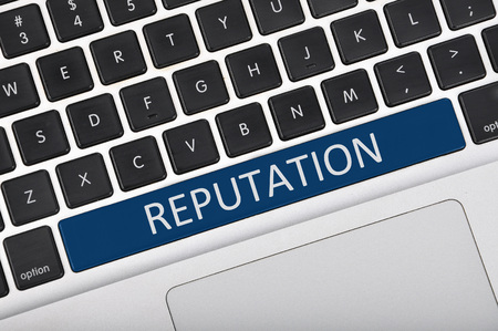 public opinion: Keyboard space bar button written word reputation Stock Photo