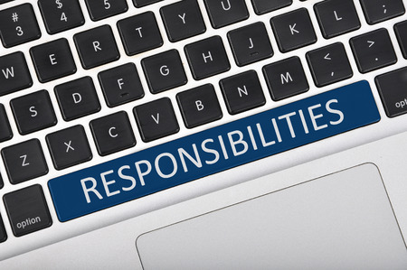 responsibilities: Keyboard space bar button written word responsibilities Stock Photo