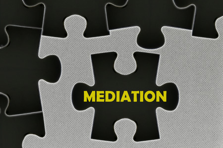 The white jigsaw puzzle written word mediation.