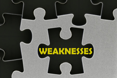 weaknesses: The white jigsaw puzzle written word  weaknesses