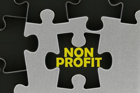 non profit: The white jigsaw puzzle written word non profit.