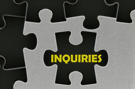 inquiries: The white jigsaw puzzle written word  inquiries