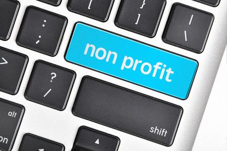 non profit: The computer keyboard button written word non profit