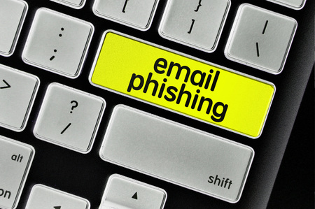 The computer keyboard button written word email phishing . Stock Photo