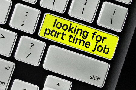 The computer keyboard button written word looking for part time job .