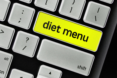 toxins: The computer keyboard button written word diet menu . Stock Photo
