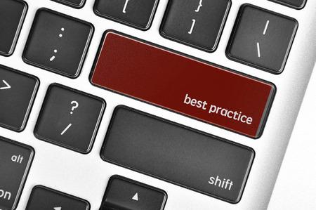 apprenticeship employee: The computer keyboard button written word best practice. Stock Photo