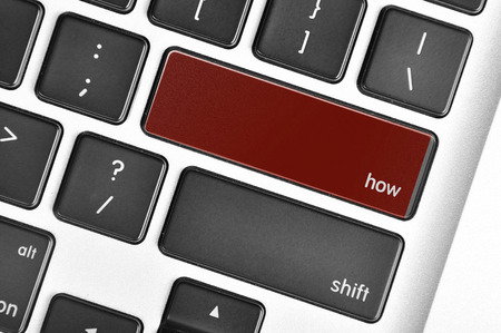 querying: The computer keyboard button written word how.