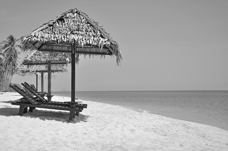 idling: The Beach chairs and umbrellas on a beautiful panoramic beach view and south china sea with copy space area in black and white