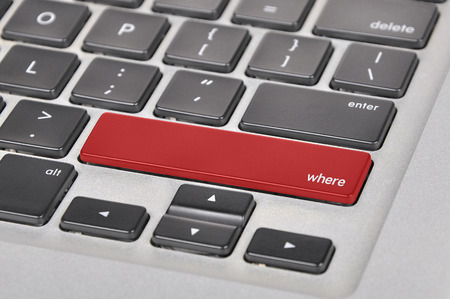 querying: The computer keyboard button written word where.