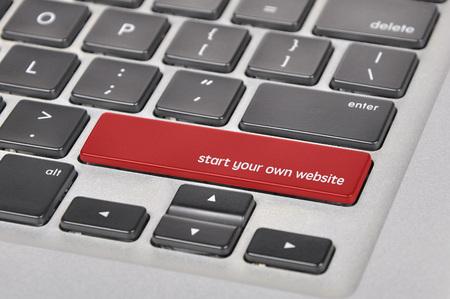 own: The computer keyboard button written word start your own website .
