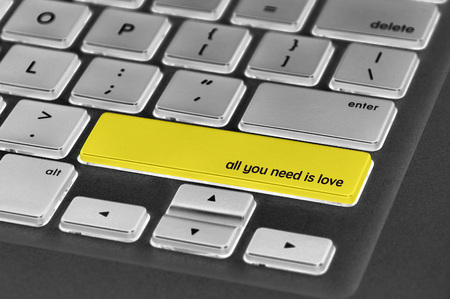 all love: The computer keyboard button written word all you need is love . Stock Photo