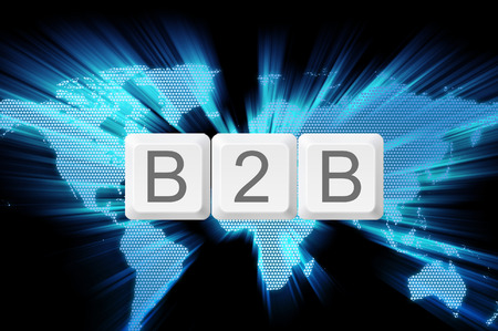 Business to business (B2B) keyboard button with world background.