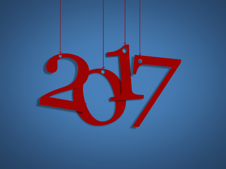 red happy new year 2017 and blue background